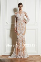 2014 Zuhair Murad Dress Couture Long Sleeve Beaded Lace Appliques Fashion Modest Sexy zuhair murad evening dress gowns prom gown