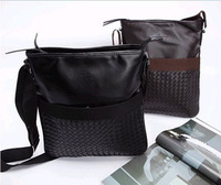 FREE SHIPPING Hot Retro casual PU woven bag Men's business shoulder bag Men's Messenger Bag