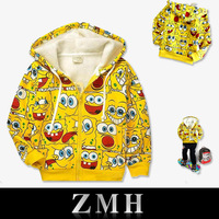 2014 kids jackets coats Free shipping cute boy and girl lovely Cartoon Spongebob comfortable flannel hood for autumn and winter