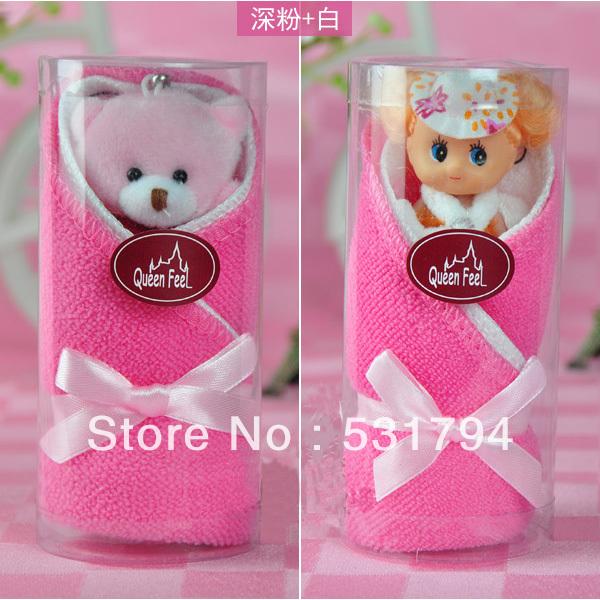 Cute Little Bear Gift cake towel gift 2 cups small towel + Bear Keychain(China (Mainland))