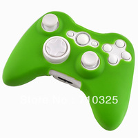 2 PCS/LOT Hot Sale Green Color Free Ship Protective Skin Silicone Case For Xbox 360 Wireless Controller