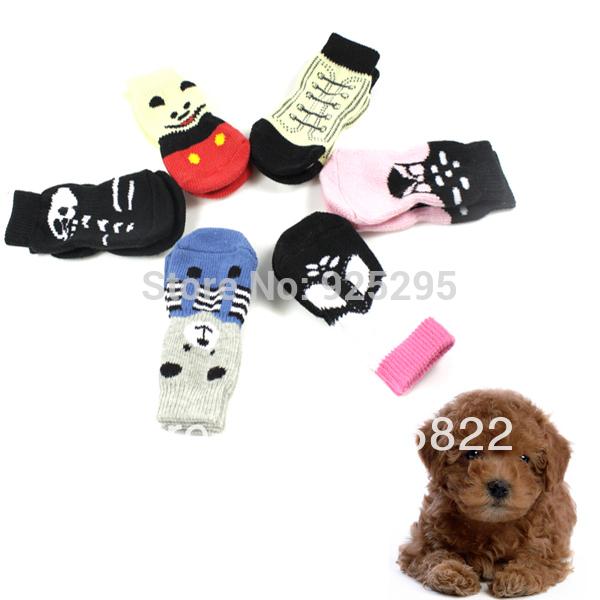 New 4Pcs Pet socks indoor Pet Dog Soft Cotton Anti-slip Knit Weave Warm Sock Skid Bottom LX0114 Free shipping&DropShipping(China (Mainland))