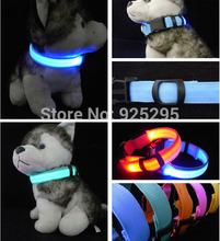 LED Nylon Pet Dog Collar Night Safety LED Light-up Flashing Glow in the Dark SL00247(China (Mainland))