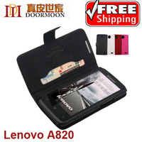 High quality flip leather case for Lenovo A820,100% Real Doormoon cowhide leather cover,with free screen protector film