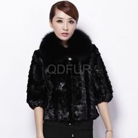 Luxury Women's Genuine Piece Mink Fur Jacket with Fox Fur Collar Female Winter Short Outerwear Korean Style Plus Size