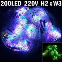 Free Shipping 200pcs 2x3m LED Net Lights 8 Lighting Modes for Wedding Christmas-Color Light Outdoor Waterproof Curtains