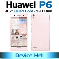 Free shipping in stock unlocked original huawei ascend p6 phone pink quad core 2gb ram WCDMA 850/900/1700/1900/2100MHz Russian