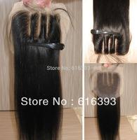 Free Shipping Stock! Middle 3 part Lace closure Yaki Straight 4''x4'' Human Hair Closure Virgin Brazilian Hair Lace Closure