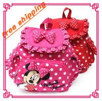 RETAIL Free shipping!! Baby girls cute cartoon bags,minnie backpacks,baby girls kindergarten bag,kids backpack Red/Hot pink