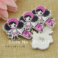 Free Shipping 100pcs mixed sweater pure wood self-shade decorative pattern cute Brooches 0912