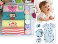 free shipping 10pcs/lot baby romper boy girl's short sleeve romper  cotton kids romper 4pcs romper and  6pcs hand towel gift