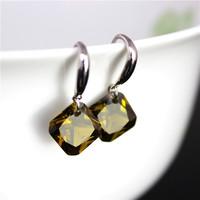 Silver Black Zircon Earrings for Women Round Drop Earrings