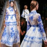 Recommended! Big European and American Women Catwalk models Elegant Blue Silk Dress Watercolor Floral Print Long Dress