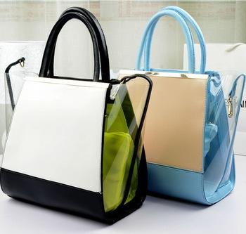 Fashion famous contrast color transparent PVC beach bag womens leather handbag/shoulder bag WLHB772