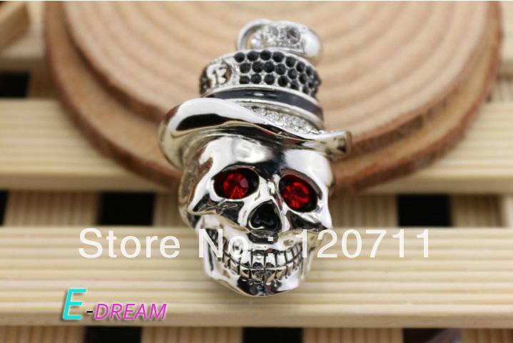 E-DREAM Wholesale Cheap Mini skull crystal pendant 4-32GB supernova sale USB Flash Drive Thumb Car Pen drive Personality Gift(China (Mainland))