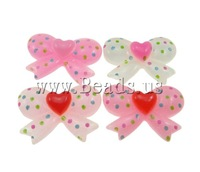 Free shipping!!!Resin Cabochon,Clearance, Bowknot, flat back & with round spot pattern & colorful powder, mixed colors, 20x14mm