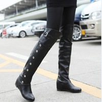 ENMAYER Women's high heels boots, rivets knee boots for women Black winter fashion women boots big size 34-43