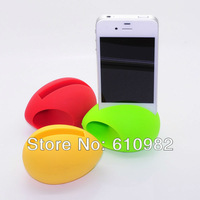 Free Shipping to Brazil Hot Sale Fashion Egg Shape Silicone Stander Audio Dock Loudspeaker Amplifier For iPhone 5 Retail
