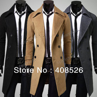 Men's Stylish Trench Coat Winter Woolen Long Double Breasted Overcoat Outerwear M-XXXL 3 Colors 17345