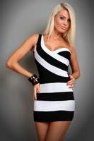 2014 Summer Women Mini One-Shoulder Zebra Stripes Black and White Stripe Sexy Mini Dress Colour Blocking Dresses Clubwear 8926