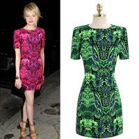 2014 New Women's Celebrity Dress Printed Floral Summer  Chiffon Casual Dress Totem Design Plus Size S M L XL Vintage Clothing