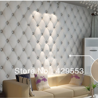 3D Faux Leather  Wallpaper White Bedside Sofa TV Background Wallpaper
