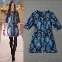 Top Grade European Runway Brand Fashion Women Dress Half Sleeve Printed Straight Casual Plus Size 3XL Denim Dress With Buttons