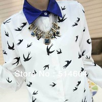Hot Womens Tops Shirts Flying Birds Printed Chiffon Shirt Collar Shirt Long Sleeve Blouses Career Size S/M/L Free Shipping