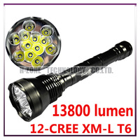 Free Shipping Ultrafire 13800 Lumen LED High Power Flashlight Torch With 12-CREE XM-L T6 5-Mode  (3x18650/ 3x26650)