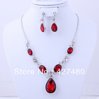 New arrival hot selling necklace top quality silver plated red zircon bridal wedding jewelry sets