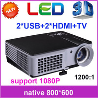 Free shipping! 2013 new 2200 Lumens led home theater projector 3d, 1080p wifi support, full hd DVD digital projectors