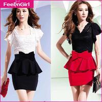 Drop Shipping 2014 Club Dresses Ladies' Sexy V-Neck Clubwear Bandage Dress Women Butterfly Sleeve Lace Dress