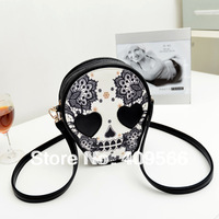 FREE SHIPPING 2014 Hot Women's Skull Handbag Fashion Small Shoulder Bag Totes  PU Leather Designer bag Messenger bags
