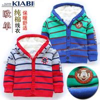 Free shipping Baby boys girls mickey striped cardigan winter thick cotton padded sweater warm fleece lining jacket