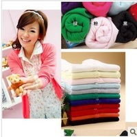 Free Shipping,New Fashion Women's Pearl Button V-neck Sweater , button candy color long-sleeve cardigan