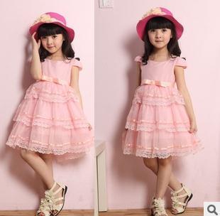 Free shipping lace chiffon princess children wear summer kids girl dresses