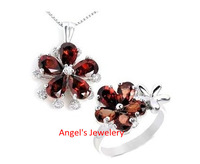 Factory Wholesale Garnet Jewelery Set with Ring and Pendant, Lady Prom Jewelery