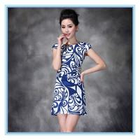 Spring Summer New Style Lady's Chiffon Dress  Blue & White Porcelain Design Decoration Collect Waist Type Slim Women Dresses XXL