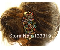 H0034 hair accessories for women New Colorful Vintage Retro Antique Crystal Peacock Hairpin B4.50Min order is $10( Mix order )