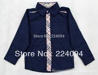 Free shipping 2013 kid's  full shirt 100% cotton  boy's plaid shirt 3-7years old boy plaid shirt  4 colors