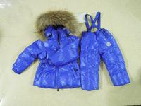 2013 Winter Boys & Girls Korea Style large raccoon fur down thickening coat children clothing set