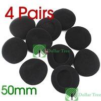 Free shipping: 4 Pairs Ear Pad Foam Earbud Cover Headphone 50MM Black wholesale