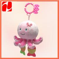 2013 Shenzhen lovely plush shaking octopus, plush hanging animal, plush rattle toy for babies