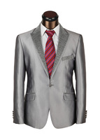 Men's Top-grade Dress Suits,Luxury Branded Grey formal Business Suits,One-Button, Size S-XXXL