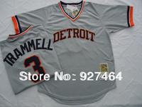 2013 new style men's Throwback baseball jersey Detroit Tigers #3 Alan Trammell grey Jerseys, Size M-3XL, hot sale