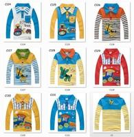 100% cotton Children's clothing 2014 autumn cartoon baby male child t-shirt child long-sleeve T-shirt turn-down collar