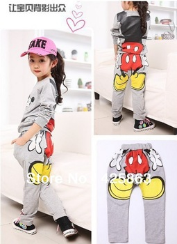 Retail 1 set new arrival kids Minnie Mickey sport suits boys girls cartoon set children's clothing long-sleeve T-shirt + pants
