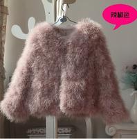 Free Shipping Promotion 2014 Natural Fur Coat Ostrich Fur Coats Women Short Design 8 Color S/M/L/XL Size For Sale