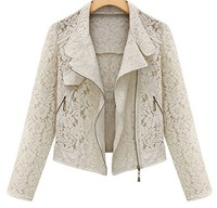 New 2013 Autumn Short Jacket for Women Casual Lace Jackets Long Sleeves Ladies Fashion Ouwear  S M L XL black white