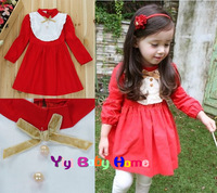 New Arrival 2013 spring and autumn children sweet girls long-sleeve dress princess party dresses red bow dresses 90-130cm